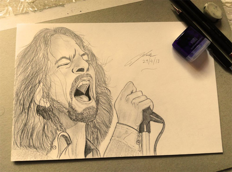 Eddie Vedder Pencil Sketch by Shah Ibrahim