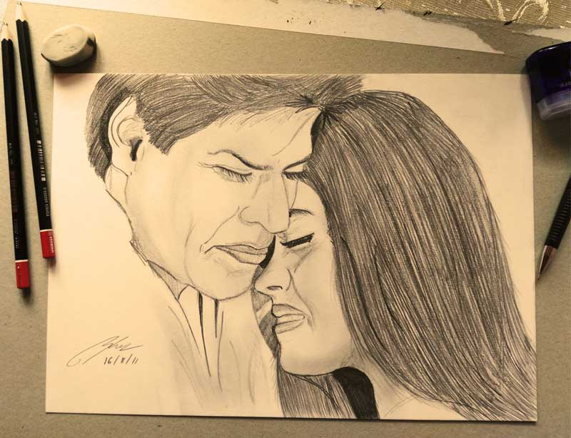 Kuch Kuch Hota Hai Pencil Sketch by Shah Ibrahim
