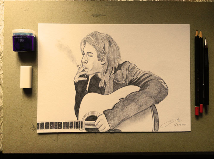 Kurt Cobain Pencil Sketch by Shah Ibrahim