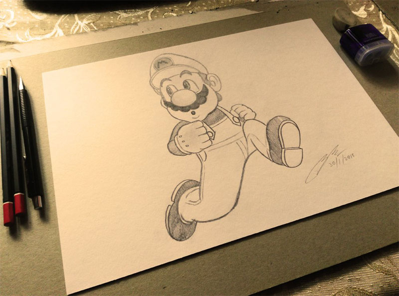 Super Mario Pencil Sketch by Shah Ibrahim