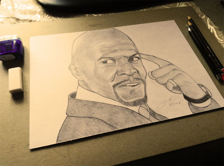 Terry Crews Pencil Sketch by Shah Ibrahim