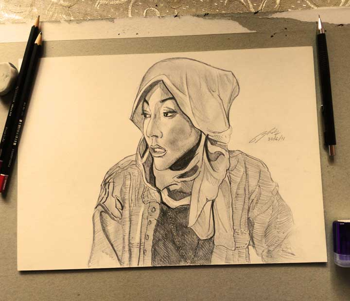 Hana Tajima Pencil Sketch by Shah Ibrahim