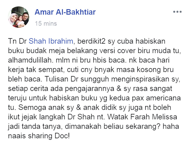 Amar Al-Bakhtiar Ulasan Budak Meja Belakang Shah Ibrahim blog csf