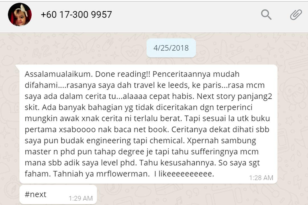 Arfah Mohamad Ulasan Catatan Pengembaraan Seorang Flowerman blog csf