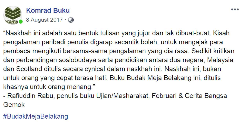 Rafiuddin Rabu Ulasan Budak Meja Belakang blog csf