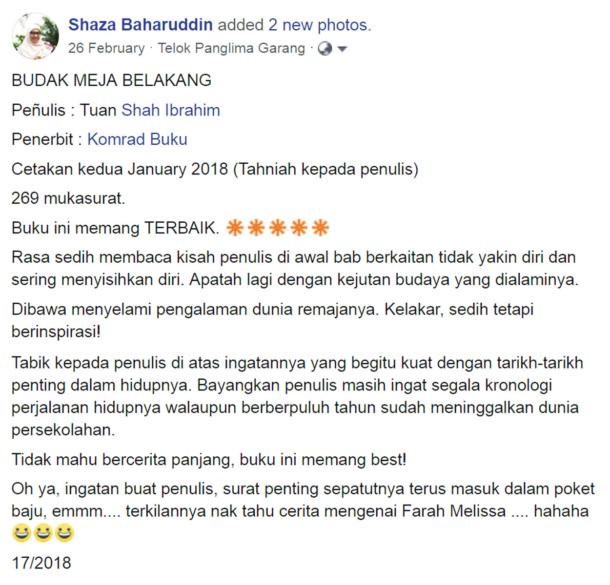 Shaza Baharuddin Ulasan Budak Meja Belakang blog csf