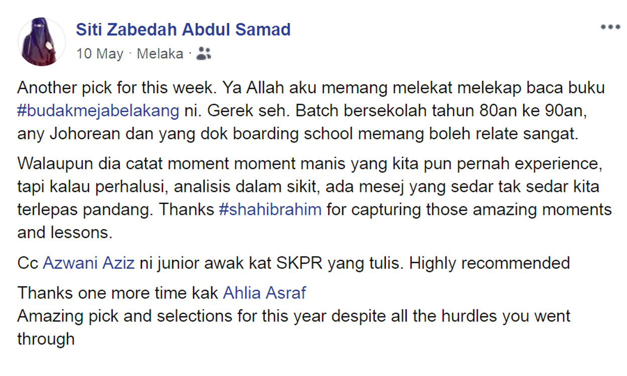 Siti Zabedah Ulasan Budak Meja Belakang blog csf