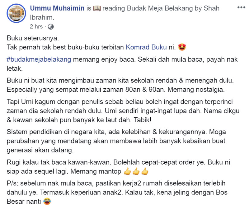 Ummu Muhaimin Ulasan Budak Meja Belakang blog csf
