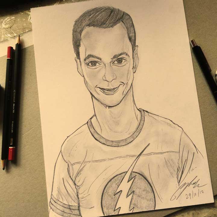 Dr Sheldon Cooper Pencil Sketch by Shah Ibrahim