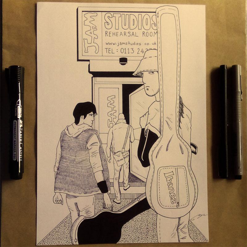 Ink Sketch Pintu Masuk Jam Studios Leeds Blog Coretan Sang Flowerman